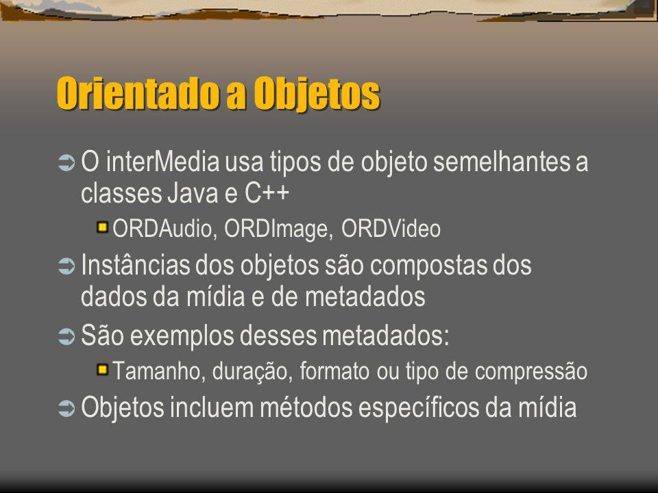 Orientado a Objetos  O interMedia usa tipos de objeto semelhantes a classes Java e C++ ORDAudio, ORDImage, ORDVideo  Instâncias dos objetos são compostas dos dados da mídia e de metadados  São exemplos desses metadados: Tamanho, duração, formato ou tipo de compressão  Objetos incluem métodos específicos da mídia