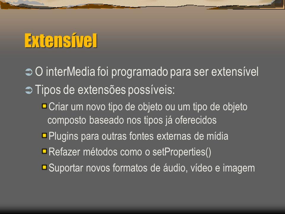 Extensível  O interMedia foi programado para ser extensível  Tipos de extensões possíveis: Criar um novo tipo de objeto ou um tipo de objeto composto baseado nos tipos já oferecidos Plugins para outras fontes externas de mídia Refazer métodos como o setProperties() Suportar novos formatos de áudio, vídeo e imagem