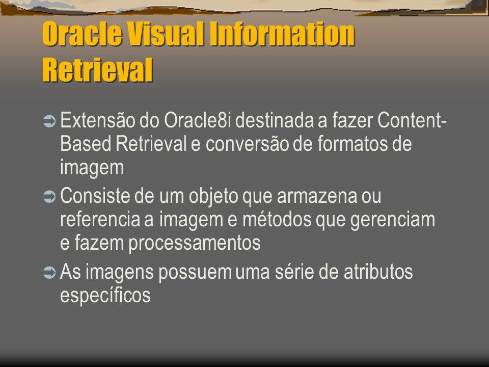 Oracle Visual Information Retrieval  Extensão do Oracle8i destinada a fazer Content- Based Retrieval e conversão de formatos de imagem  Consiste de um objeto que armazena ou referencia a imagem e métodos que gerenciam e fazem processamentos  As imagens possuem uma série de atributos específicos