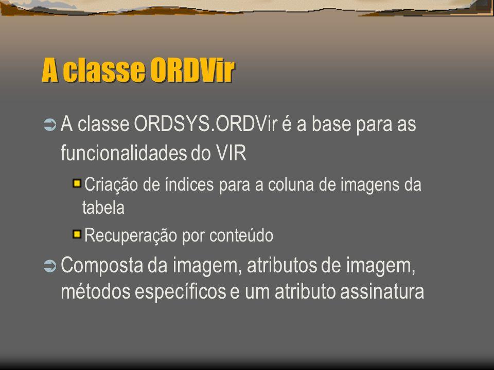 A classe ORDVir  A classe ORDSYS.ORDVir é a base para as funcionalidades do VIR Criação de índices para a coluna de imagens da tabela Recuperação por conteúdo  Composta da imagem, atributos de imagem, métodos específicos e um atributo assinatura