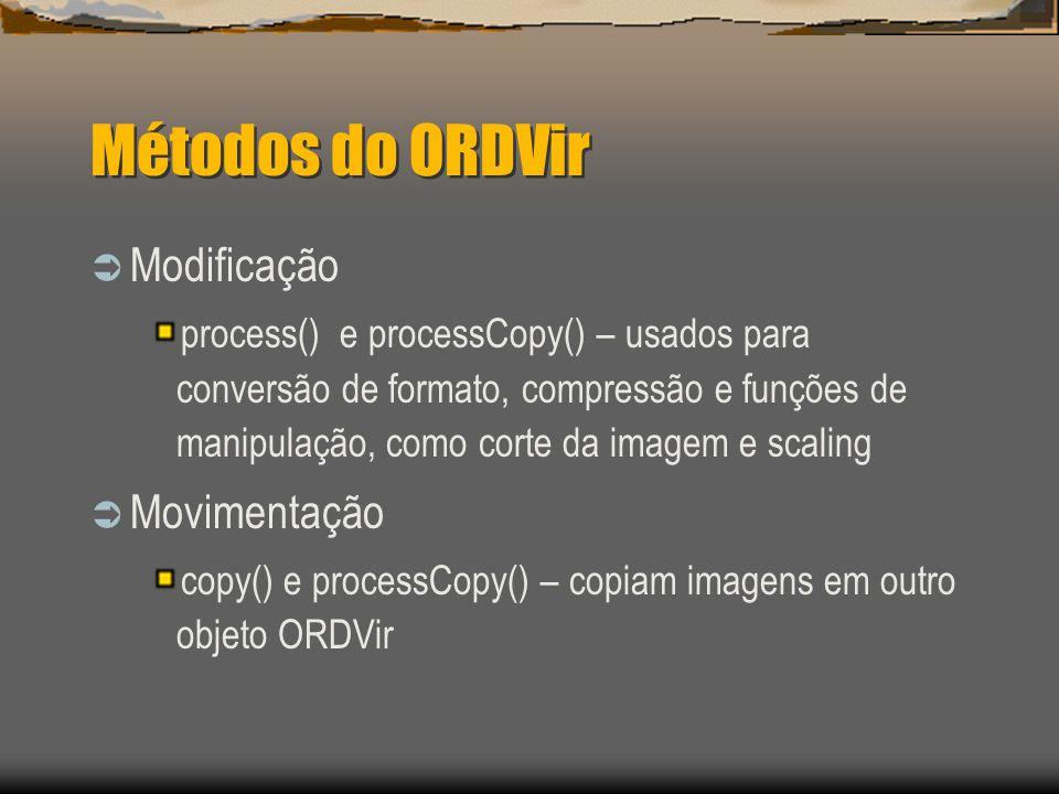 Métodos do ORDVir  Modificação process() e processCopy() – usados para conversão de formato, compressão e funções de manipulação, como corte da imagem e scaling  Movimentação copy() e processCopy() – copiam imagens em outro objeto ORDVir