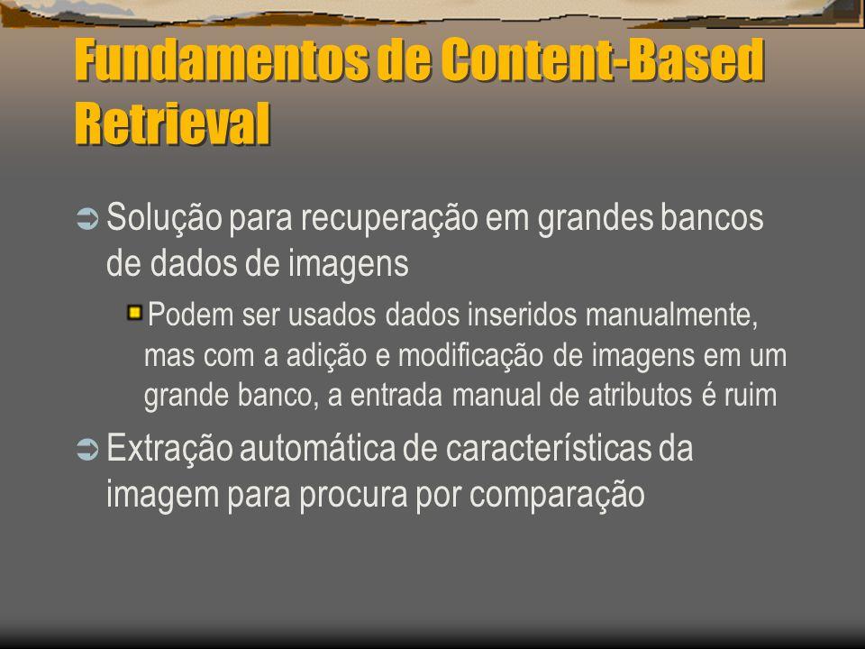 Fundamentos de Content-Based Retrieval  Solução para recuperação em grandes bancos de dados de imagens Podem ser usados dados inseridos manualmente, mas com a adição e modificação de imagens em um grande banco, a entrada manual de atributos é ruim  Extração automática de características da imagem para procura por comparação