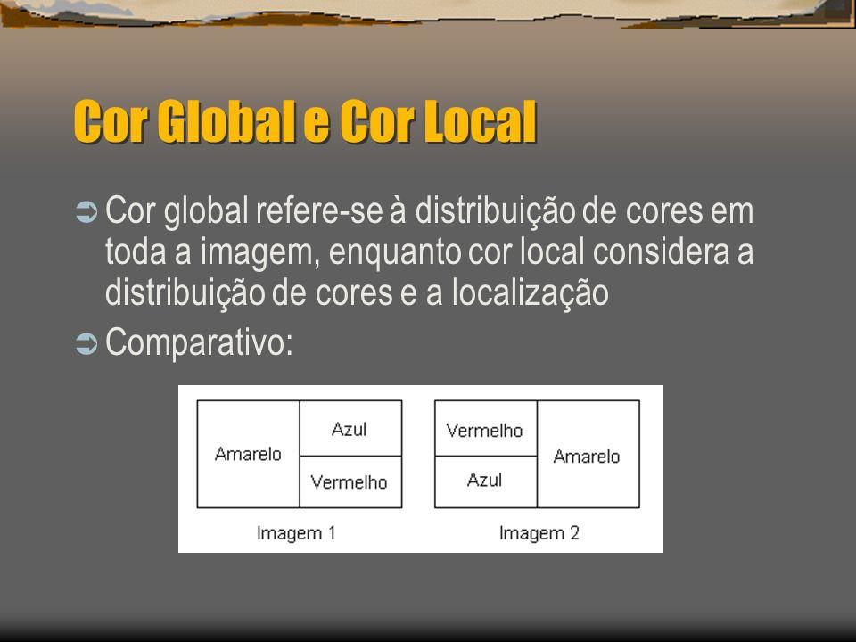 Cor Global e Cor Local  Cor global refere-se à distribuição de cores em toda a imagem, enquanto cor local considera a distribuição de cores e a localização  Comparativo: