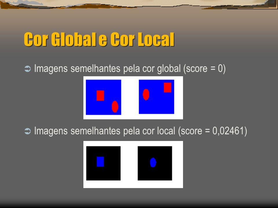 Cor Global e Cor Local  Imagens semelhantes pela cor global (score = 0)  Imagens semelhantes pela cor local (score = 0,02461)