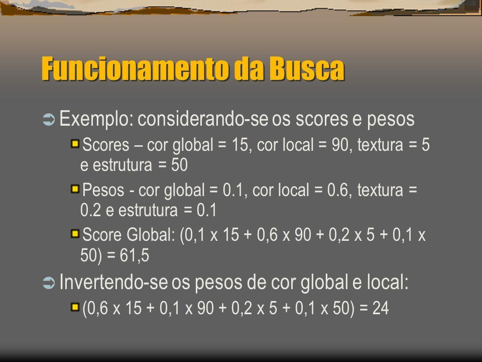 Funcionamento da Busca  Exemplo: considerando-se os scores e pesos Scores – cor global = 15, cor local = 90, textura = 5 e estrutura = 50 Pesos - cor global = 0.1, cor local = 0.6, textura = 0.2 e estrutura = 0.1 Score Global: (0,1 x 15 + 0,6 x 90 + 0,2 x 5 + 0,1 x 50) = 61,5  Invertendo-se os pesos de cor global e local: (0,6 x 15 + 0,1 x 90 + 0,2 x 5 + 0,1 x 50) = 24