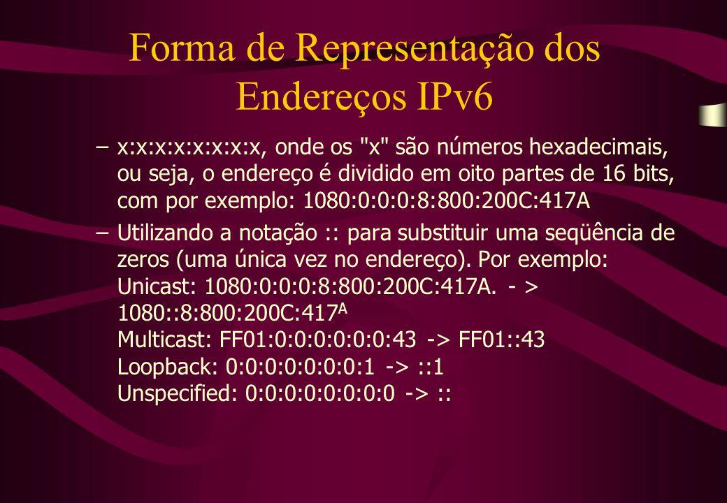Forma de Representação dos Endereços IPv6 –x:x:x:x:x:x:x:x, onde os x são números hexadecimais, ou seja, o endereço é dividido em oito partes de 16 bits, com por exemplo: 1080:0:0:0:8:800:200C:417A –Utilizando a notação :: para substituir uma seqüência de zeros (uma única vez no endereço).