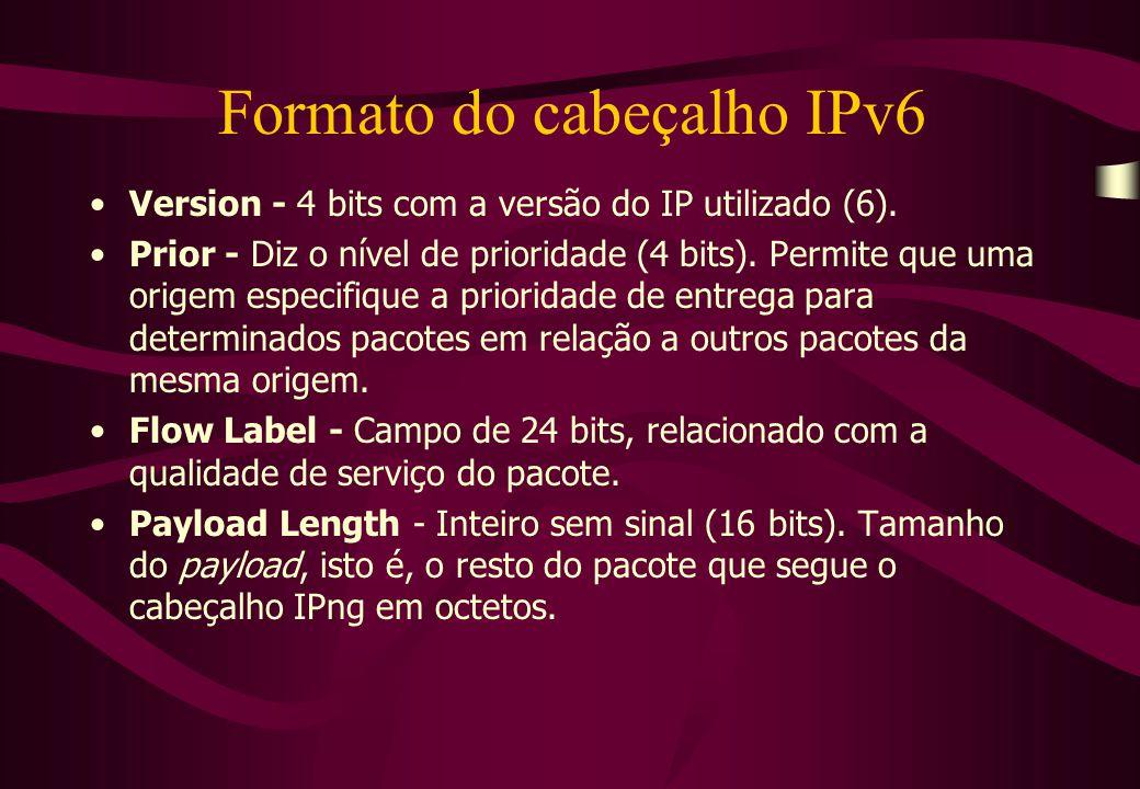 Version - 4 bits com a versão do IP utilizado (6).