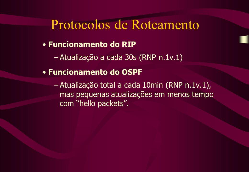 Protocolos de Roteamento Funcionamento do RIP –Atualização a cada 30s (RNP n.1v.1) Funcionamento do OSPF –Atualização total a cada 10min (RNP n.1v.1), mas pequenas atualizações em menos tempo com hello packets .