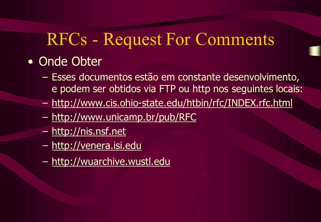 RFCs - Request For Comments Onde Obter –Esses documentos estão em constante desenvolvimento, e podem ser obtidos via FTP ou http nos seguintes locais: –http://www.cis.ohio-state.edu/htbin/rfc/INDEX.rfc.htmlhttp://www.cis.ohio-state.edu/htbin/rfc/INDEX.rfc.html –http://www.unicamp.br/pub/RFChttp://www.unicamp.br/pub/RFC –http://nis.nsf.nethttp://nis.nsf.net –http://venera.isi.eduhttp://venera.isi.edu –http://wuarchive.wustl.eduhttp://wuarchive.wustl.edu