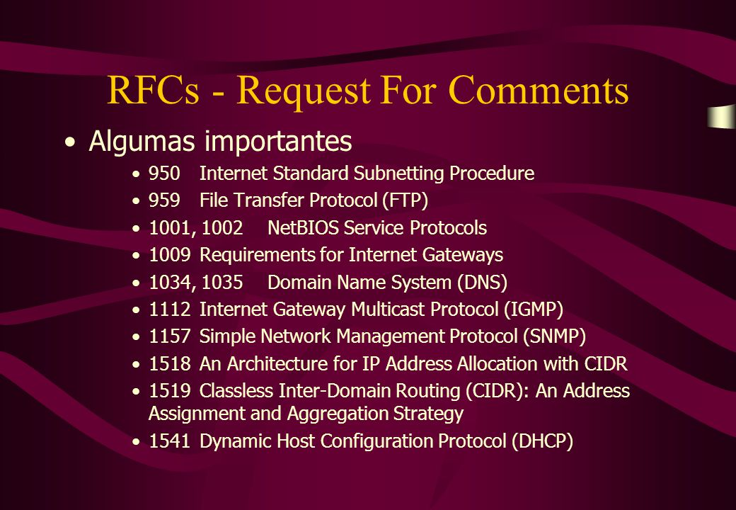 RFCs - Request For Comments Algumas importantes 950Internet Standard Subnetting Procedure 959File Transfer Protocol (FTP) 1001, 1002NetBIOS Service Pr