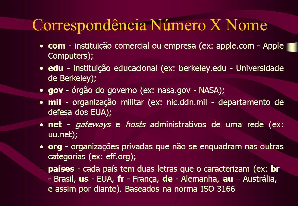 Correspondência Número X Nome  com - instituição comercial ou empresa (ex: apple.com - Apple Computers);  edu - instituição educacional (ex: berkeley.edu - Universidade de Berkeley);  gov - órgão do governo (ex: nasa.gov - NASA);  mil - organização militar (ex: nic.ddn.mil - departamento de defesa dos EUA);  net - gateways e hosts administrativos de uma rede (ex: uu.net);  org - organizações privadas que não se enquadram nas outras categorias (ex: eff.org); –países - cada país tem duas letras que o caracterizam (ex: br - Brasil, us - EUA, fr - França, de - Alemanha, au – Austrália, e assim por diante).