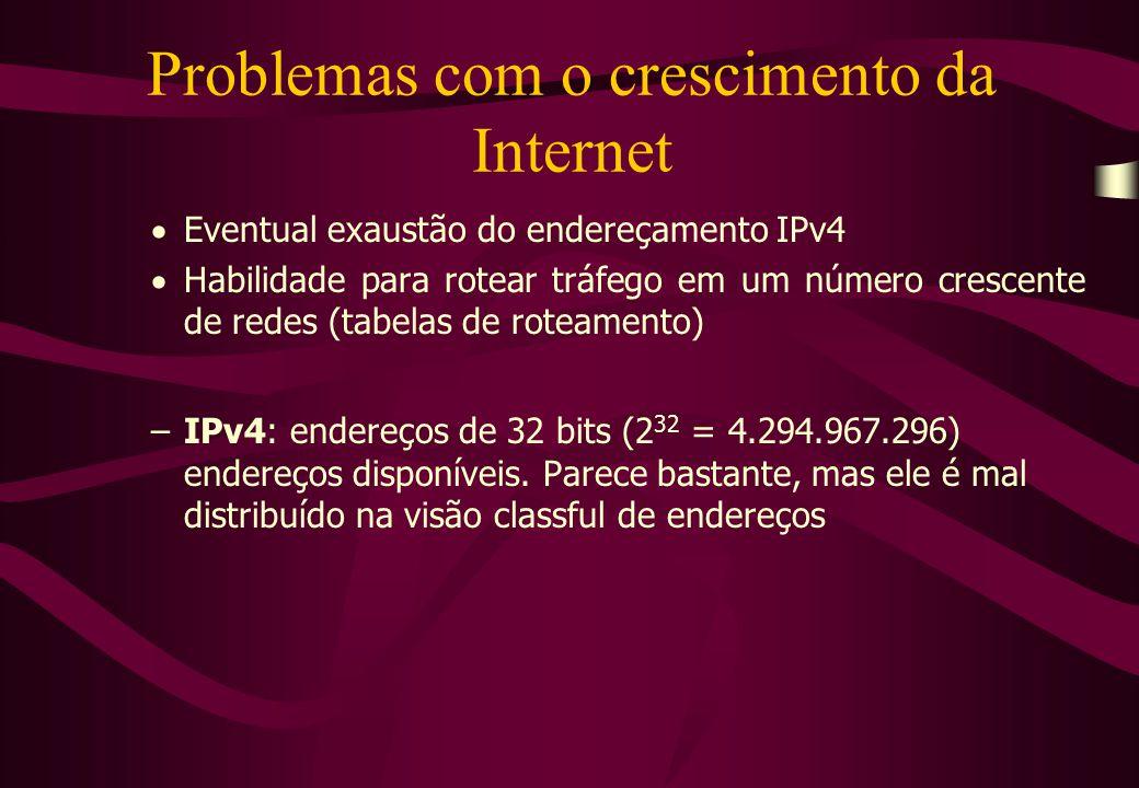 Problemas com o crescimento da Internet  Eventual exaustão do endereçamento IPv4  Habilidade para rotear tráfego em um número crescente de redes (tabelas de roteamento) –IPv4: endereços de 32 bits (2 32 = 4.294.967.296) endereços disponíveis.