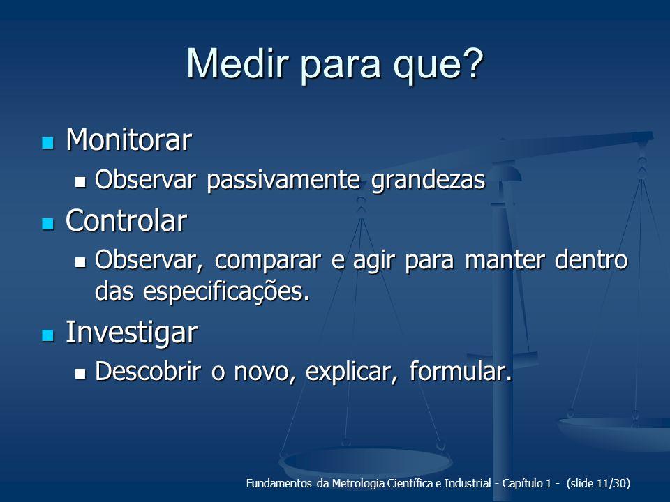 Fundamentos da Metrologia Científica e Industrial - Capítulo 1 - (slide 12/30) Medir para monitorar...