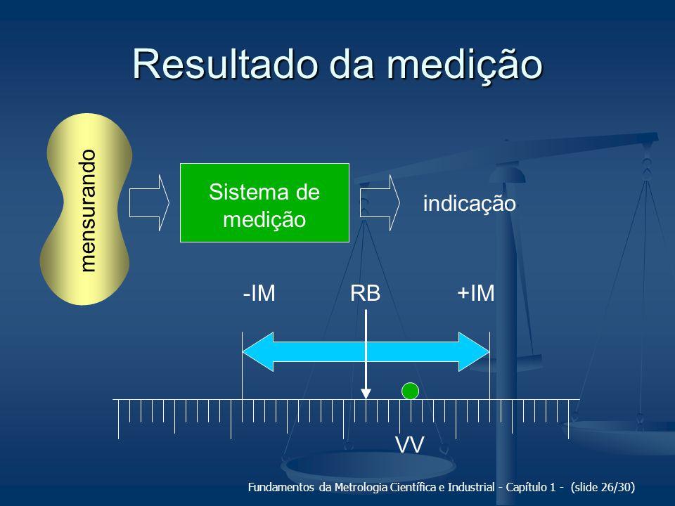 Fundamentos da Metrologia Científica e Industrial - Capítulo 1 - (slide 27/30) Resultado da medição É a faixa de valores dentro da qual deve se situar o valor verdadeiro do mensurando.