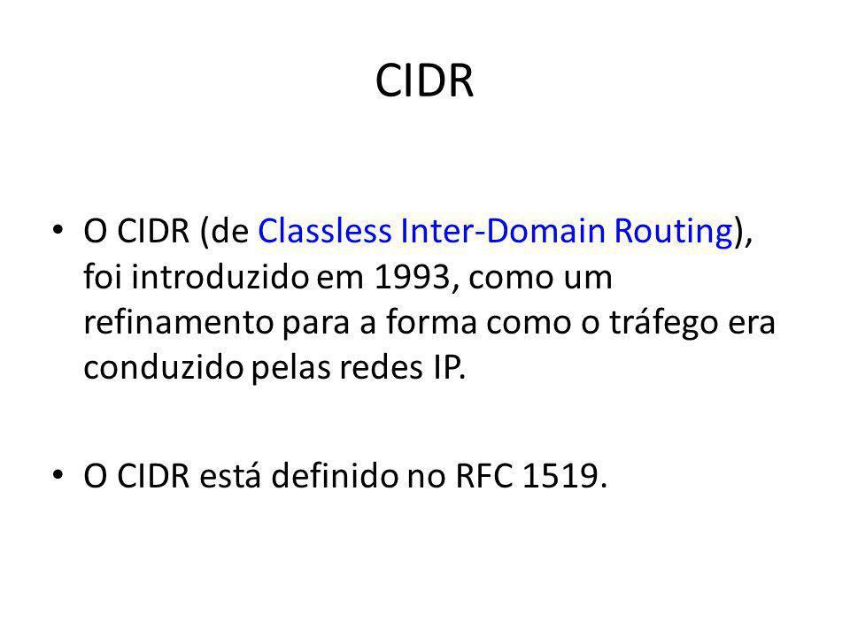 CIDR O CIDR (de Classless Inter-Domain Routing), foi introduzido em 1993, como um refinamento para a forma como o tráfego era conduzido pelas redes IP