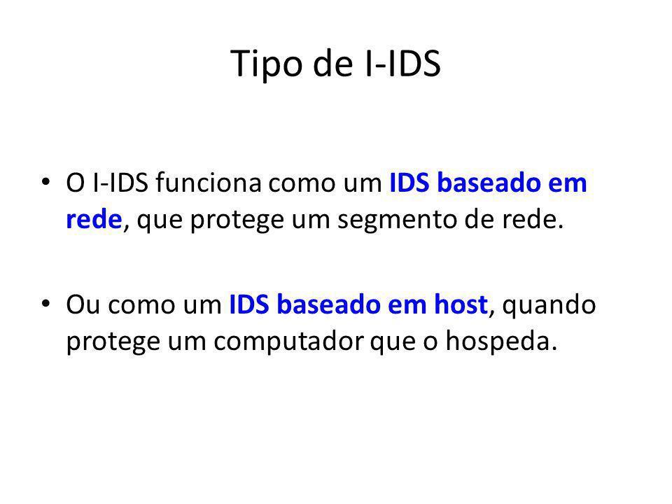 Tipo de I-IDS O I-IDS funciona como um IDS baseado em rede, que protege um segmento de rede. Ou como um IDS baseado em host, quando protege um computa