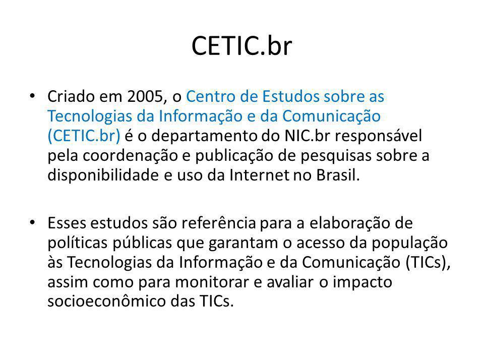 CETIC.br Criado em 2005, o Centro de Estudos sobre as Tecnologias da Informação e da Comunicação (CETIC.br) é o departamento do NIC.br responsável pel