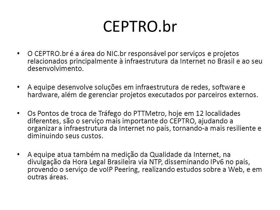 CEPTRO.br O CEPTRO.br é a área do NIC.br responsável por serviços e projetos relacionados principalmente à infraestrutura da Internet no Brasil e ao s