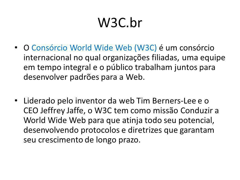 W3C.br O Consórcio World Wide Web (W3C) é um consórcio internacional no qual organizações filiadas, uma equipe em tempo integral e o público trabalham