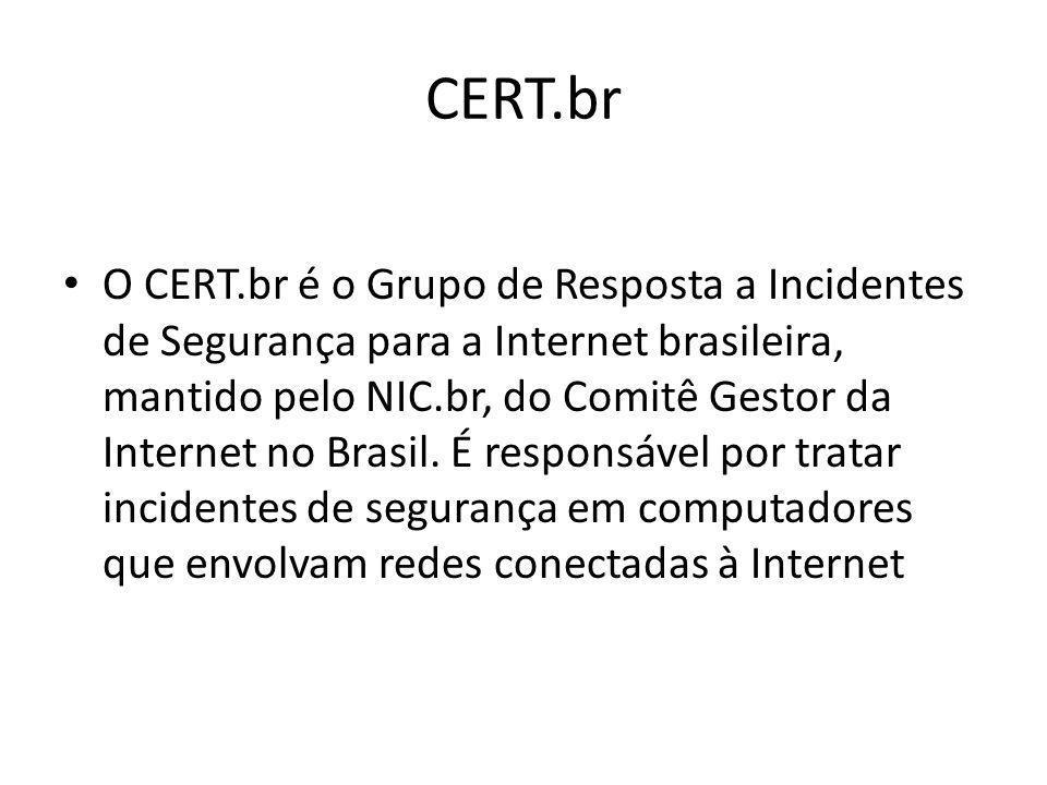 CERT.br O CERT.br é o Grupo de Resposta a Incidentes de Segurança para a Internet brasileira, mantido pelo NIC.br, do Comitê Gestor da Internet no Bra