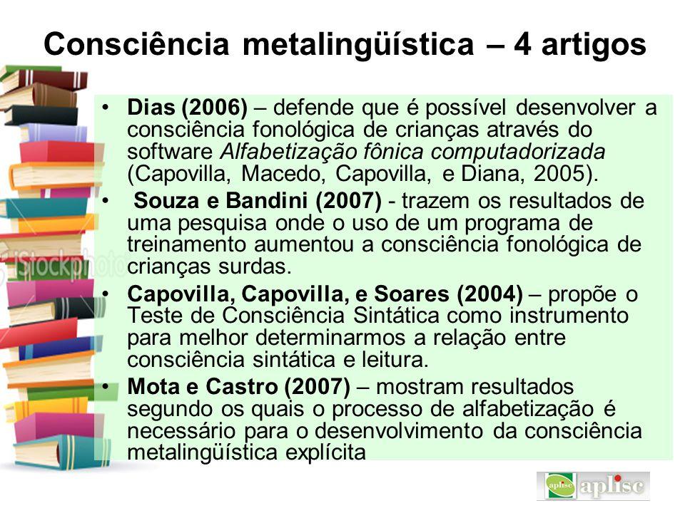 Consciência metalingüística – 4 artigos Dias (2006) – defende que é possível desenvolver a consciência fonológica de crianças através do software Alfa