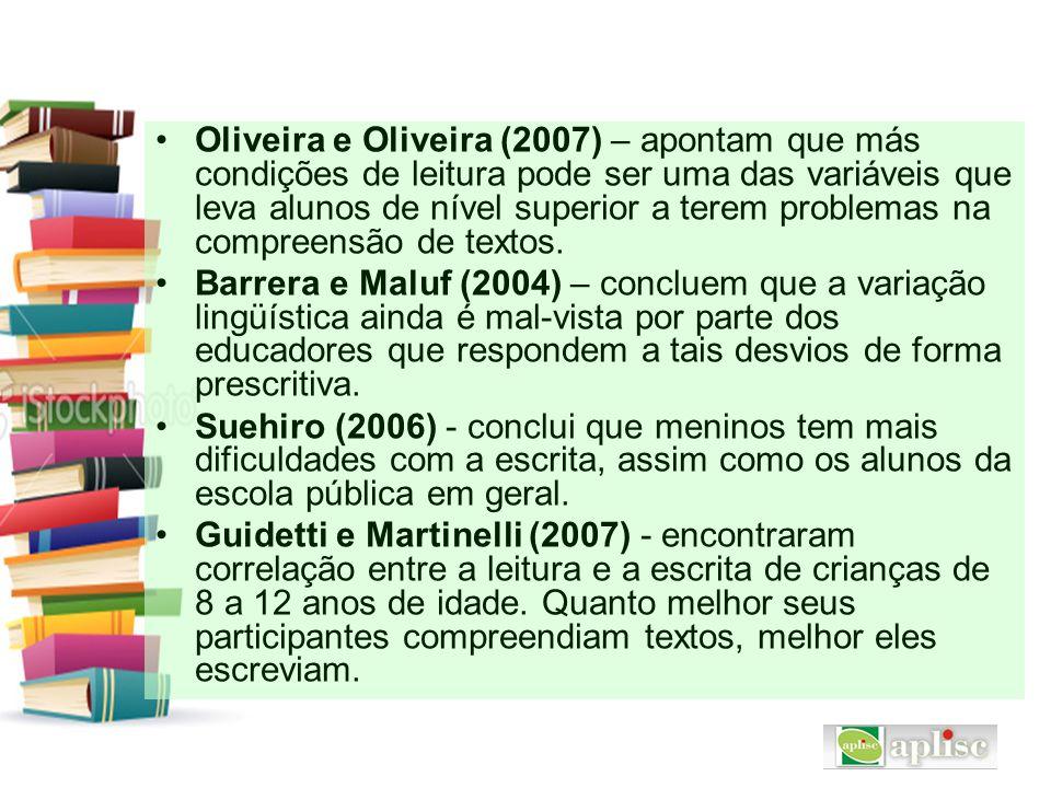Oliveira e Oliveira (2007) – apontam que más condições de leitura pode ser uma das variáveis que leva alunos de nível superior a terem problemas na co