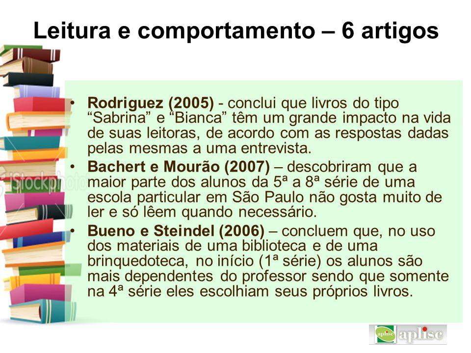 """Leitura e comportamento – 6 artigos Rodriguez (2005) - conclui que livros do tipo """"Sabrina"""" e """"Bianca"""" têm um grande impacto na vida de suas leitoras,"""