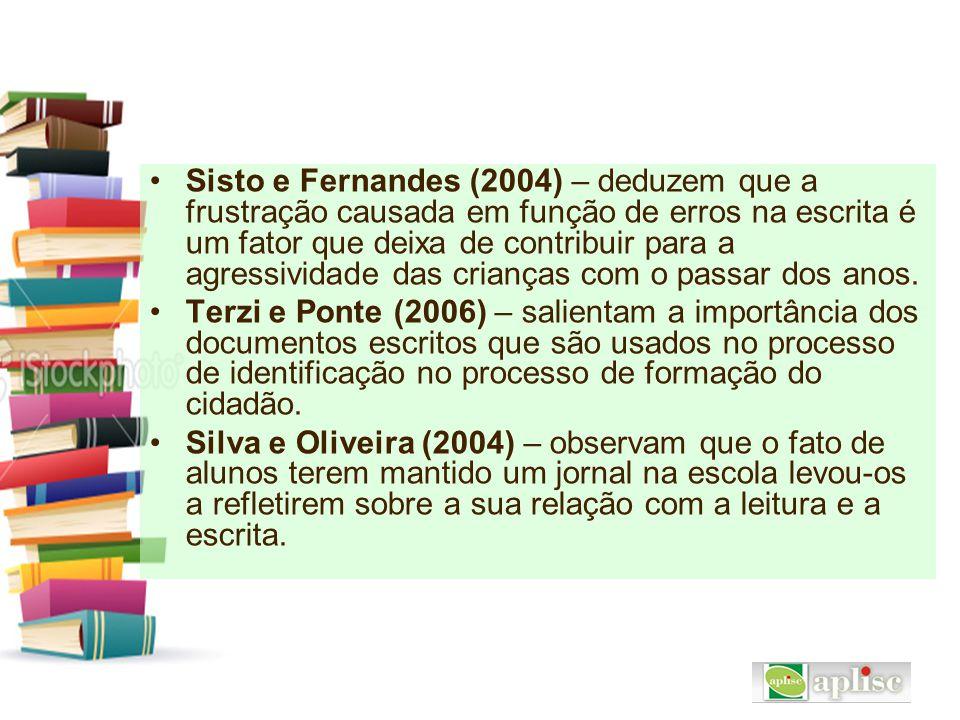 Sisto e Fernandes (2004) – deduzem que a frustração causada em função de erros na escrita é um fator que deixa de contribuir para a agressividade das