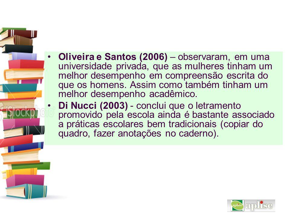 Oliveira e Santos (2006) – observaram, em uma universidade privada, que as mulheres tinham um melhor desempenho em compreensão escrita do que os homen