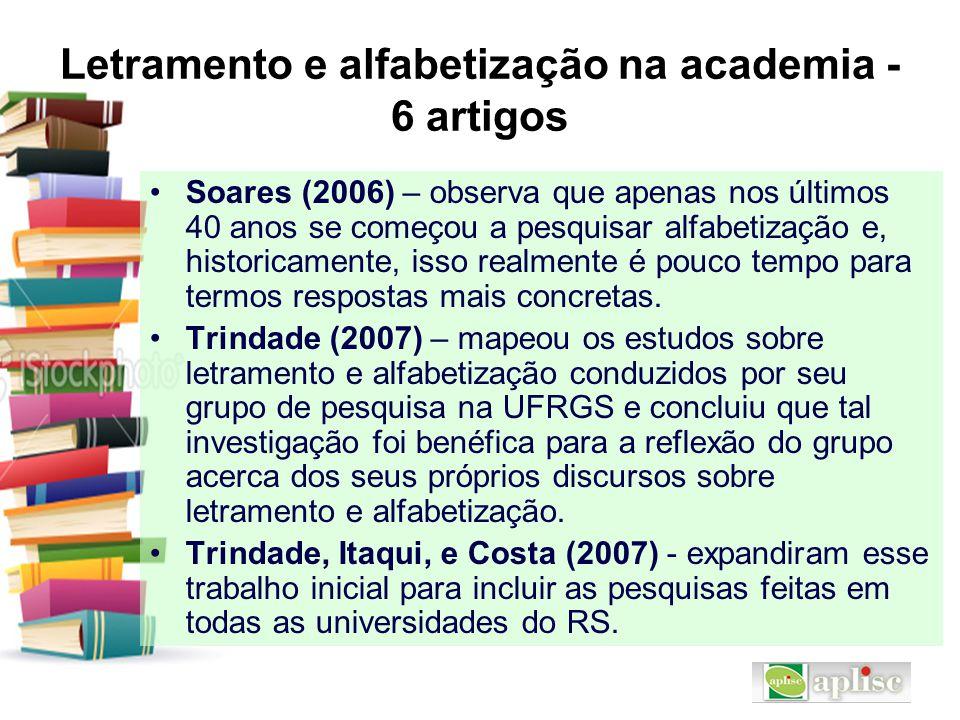 Letramento e alfabetização na academia - 6 artigos Soares (2006) – observa que apenas nos últimos 40 anos se começou a pesquisar alfabetização e, hist