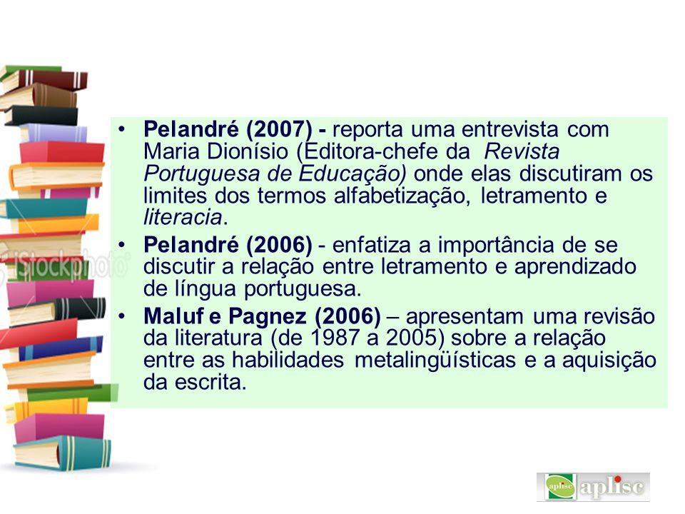 Pelandré (2007) - reporta uma entrevista com Maria Dionísio (Editora-chefe da Revista Portuguesa de Educação) onde elas discutiram os limites dos term