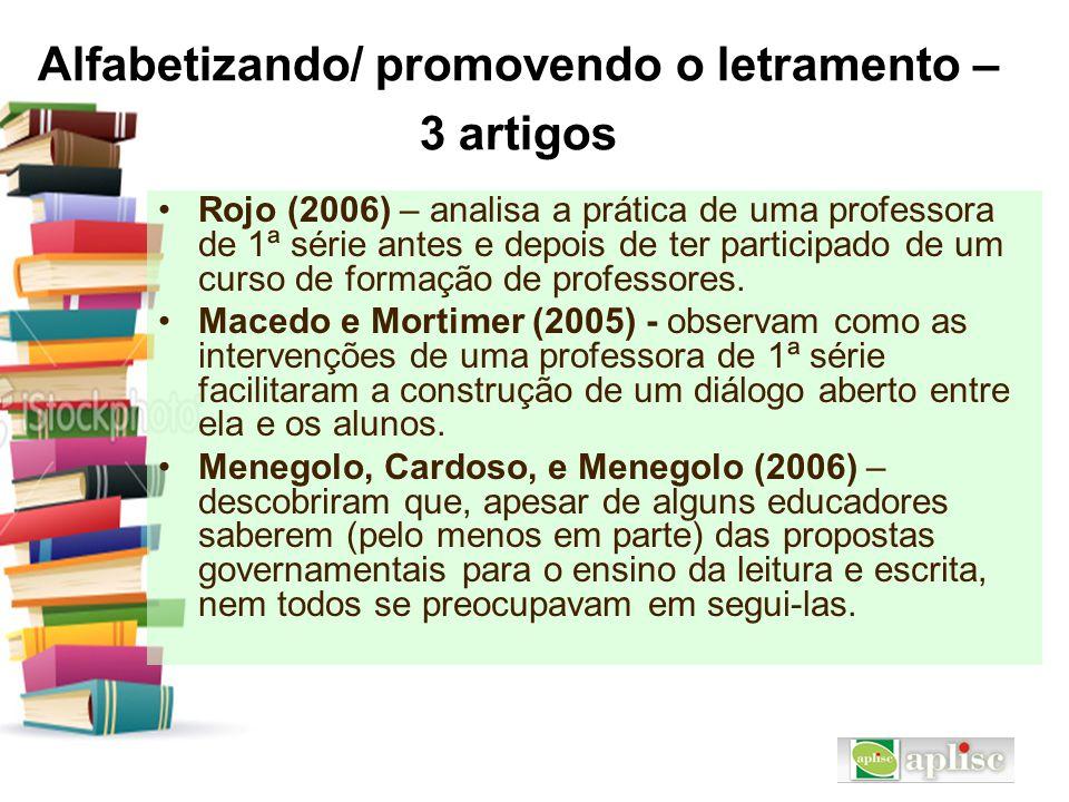 Alfabetizando/ promovendo o letramento – 3 artigos Rojo (2006) – analisa a prática de uma professora de 1ª série antes e depois de ter participado de