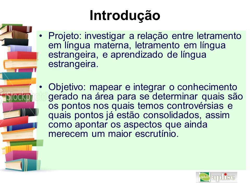 Introdução Projeto: investigar a relação entre letramento em língua materna, letramento em língua estrangeira, e aprendizado de língua estrangeira. Ob