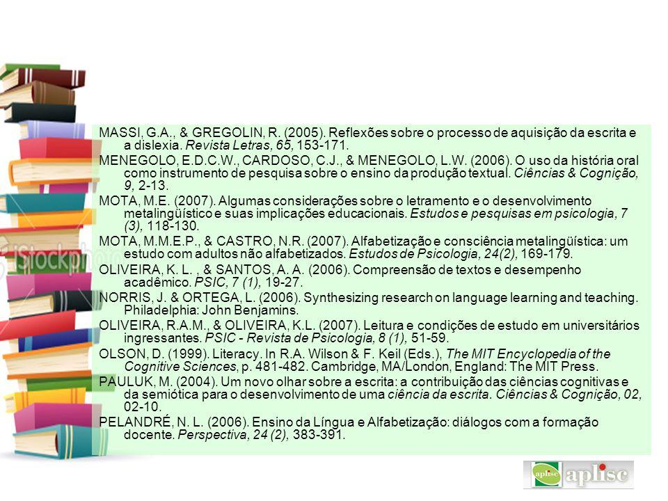 MASSI, G.A., & GREGOLIN, R. (2005). Reflexões sobre o processo de aquisição da escrita e a dislexia. Revista Letras, 65, 153-171. MENEGOLO, E.D.C.W.,