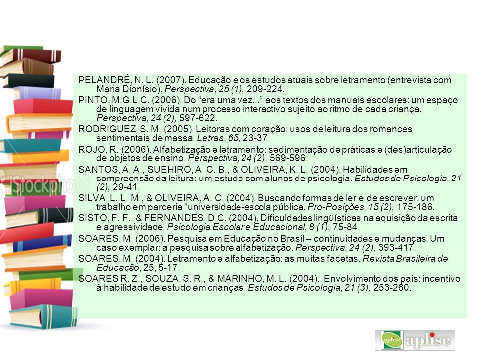 PELANDRÉ, N. L. (2007). Educação e os estudos atuais sobre letramento (entrevista com Maria Dionísio). Perspectiva, 25 (1), 209-224. PINTO, M.G.L.C. (