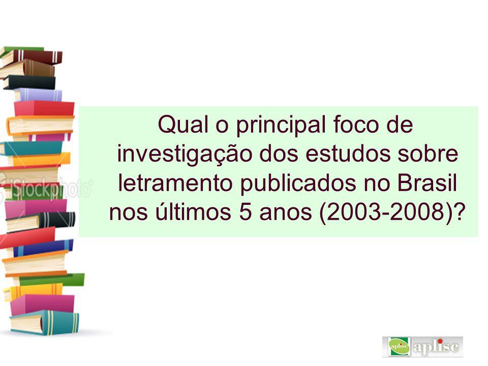 Qual o principal foco de investigação dos estudos sobre letramento publicados no Brasil nos últimos 5 anos (2003-2008)?