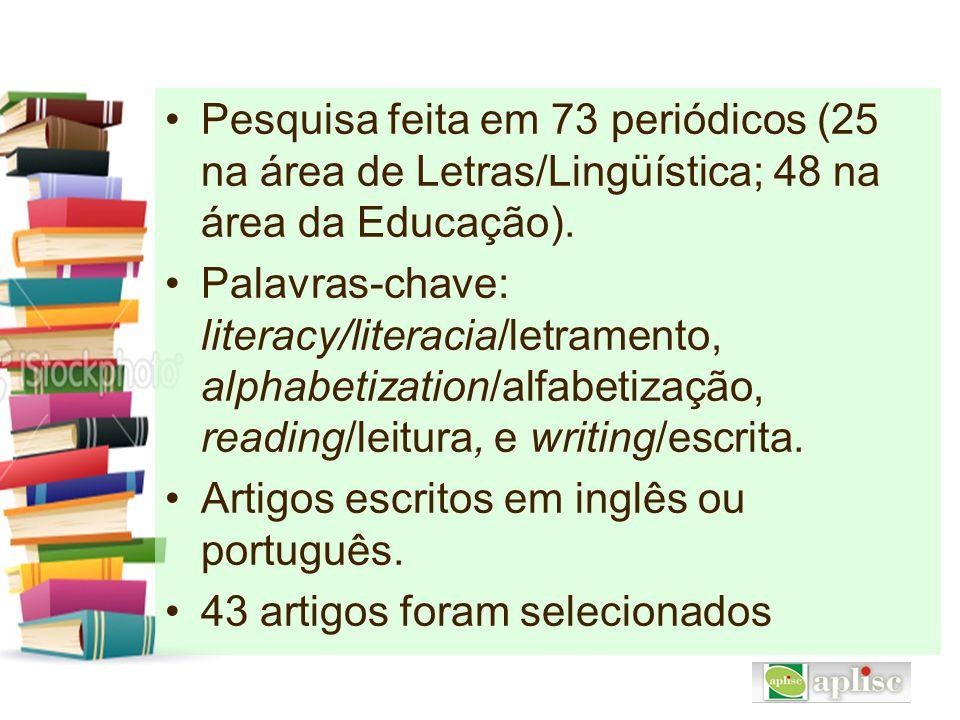 Pesquisa feita em 73 periódicos (25 na área de Letras/Lingüística; 48 na área da Educação). Palavras-chave: literacy/literacia/letramento, alphabetiza