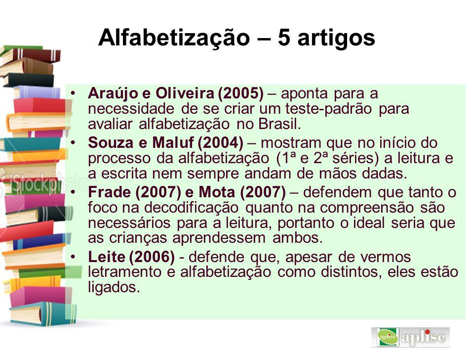 Alfabetização – 5 artigos Araújo e Oliveira (2005) – aponta para a necessidade de se criar um teste-padrão para avaliar alfabetização no Brasil. Souza