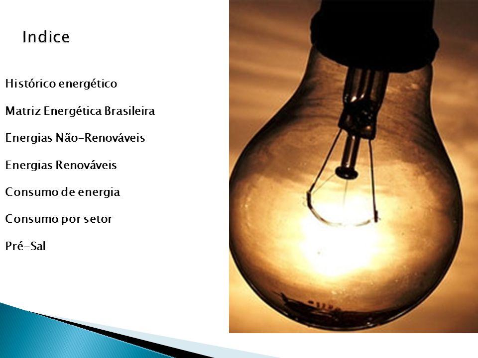 Histórico energético Matriz Energética Brasileira Energias Não-Renováveis Energias Renováveis Consumo de energia Consumo por setor Pré-Sal