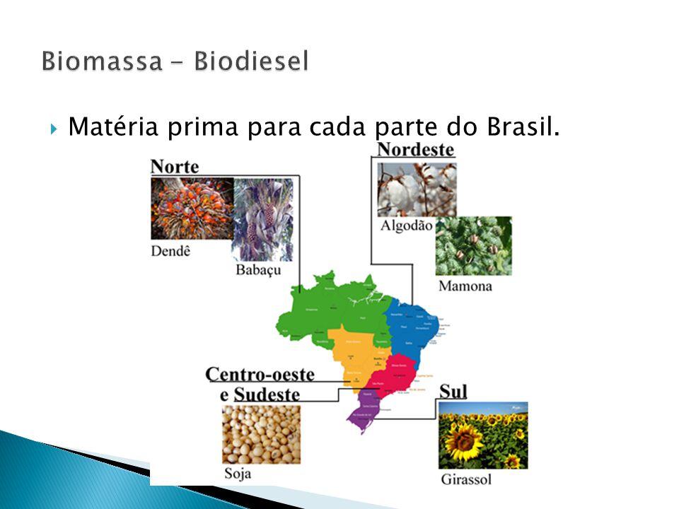  Matéria prima para cada parte do Brasil.