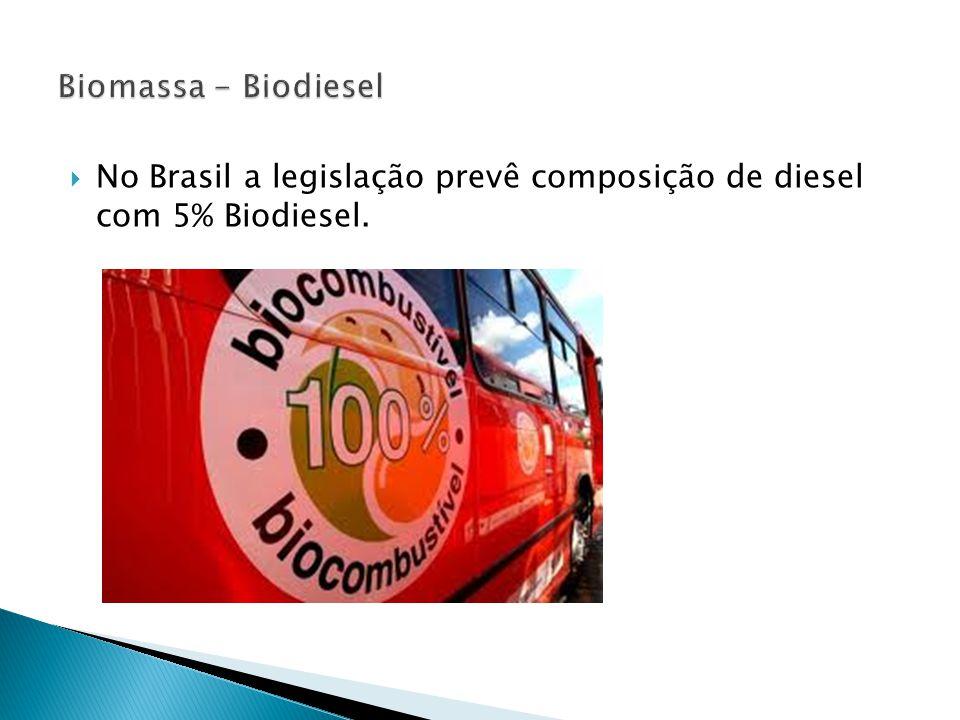  No Brasil a legislação prevê composição de diesel com 5% Biodiesel.
