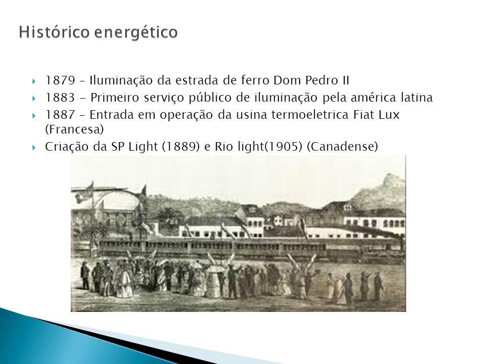 1879 – Iluminação da estrada de ferro Dom Pedro II  1883 - Primeiro serviço público de iluminação pela américa latina  1887 – Entrada em operação da usina termoeletrica Fiat Lux (Francesa)  Criação da SP Light (1889) e Rio light(1905) (Canadense)