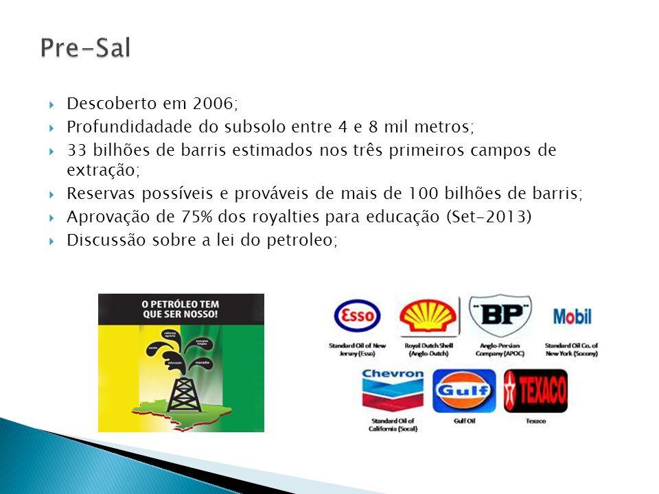  Descoberto em 2006;  Profundidadade do subsolo entre 4 e 8 mil metros;  33 bilhões de barris estimados nos três primeiros campos de extração;  Reservas possíveis e prováveis de mais de 100 bilhões de barris;  Aprovação de 75% dos royalties para educação (Set-2013)  Discussão sobre a lei do petroleo;