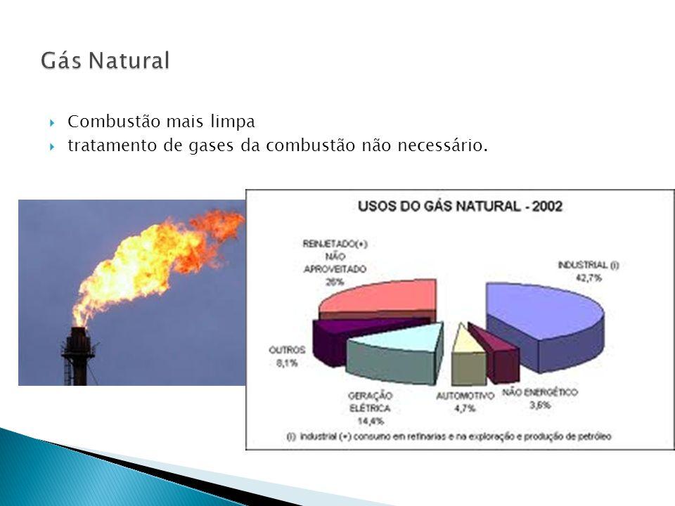  Combustão mais limpa  tratamento de gases da combustão não necessário.