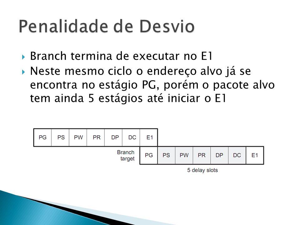  Branch termina de executar no E1  Neste mesmo ciclo o endereço alvo já se encontra no estágio PG, porém o pacote alvo tem ainda 5 estágios até iniciar o E1