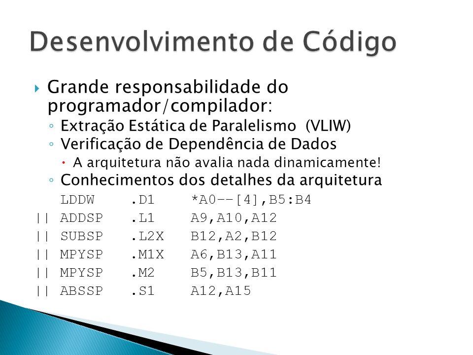  Grande responsabilidade do programador/compilador: ◦ Extração Estática de Paralelismo (VLIW) ◦ Verificação de Dependência de Dados  A arquitetura não avalia nada dinamicamente.