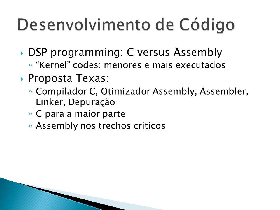 " DSP programming: C versus Assembly ◦ ""Kernel"" codes: menores e mais executados  Proposta Texas: ◦ Compilador C, Otimizador Assembly, Assembler, Lin"