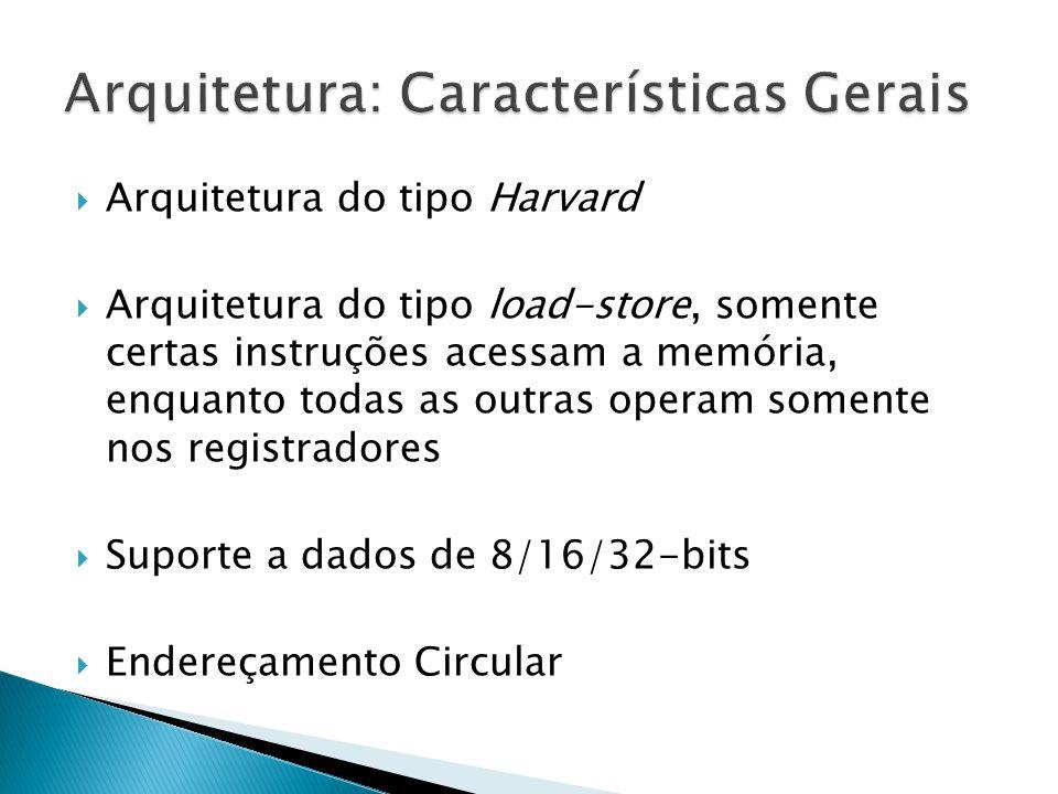  Arquitetura do tipo Harvard  Arquitetura do tipo load-store, somente certas instruções acessam a memória, enquanto todas as outras operam somente nos registradores  Suporte a dados de 8/16/32-bits  Endereçamento Circular