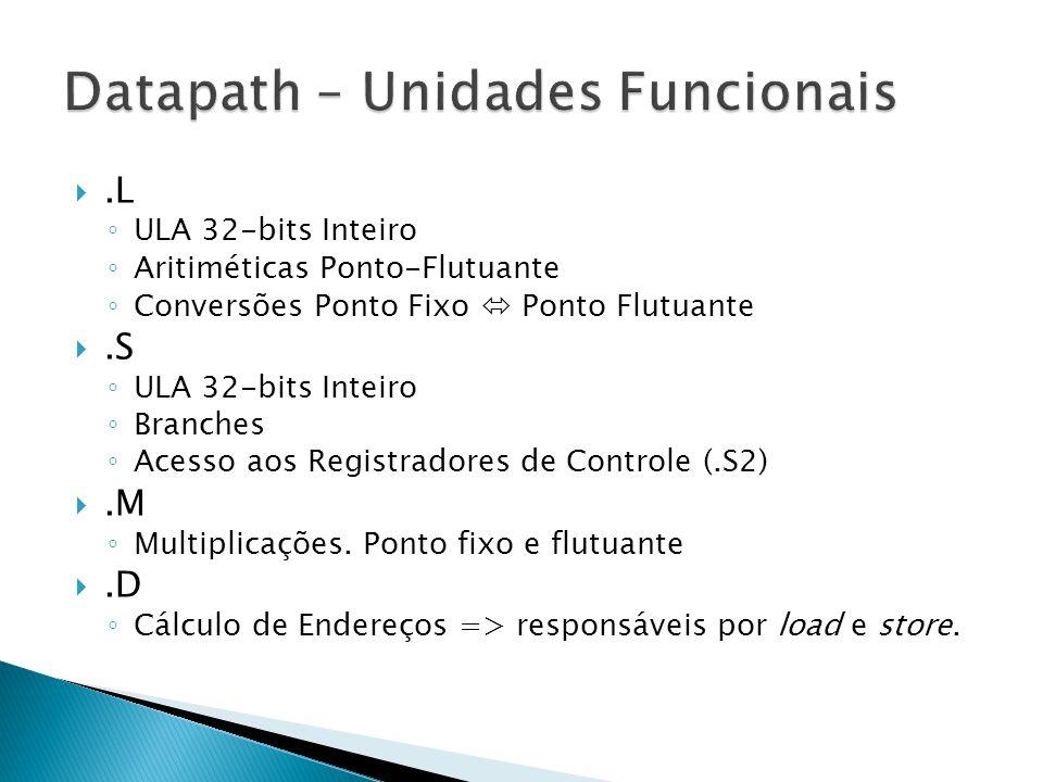 .L ◦ ULA 32-bits Inteiro ◦ Aritiméticas Ponto-Flutuante ◦ Conversões Ponto Fixo  Ponto Flutuante .S ◦ ULA 32-bits Inteiro ◦ Branches ◦ Acesso aos Registradores de Controle (.S2) .M ◦ Multiplicações.