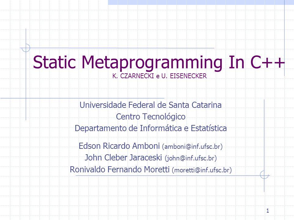 22 Pré-processador Static Metaprogramming in Delphi Program so; {$APPTYPE CONSOLE} {$DEFINE SOUnix} Begin {$IFDEF SOUnix} WriteLn( 'SO Unix' ); {$ELSE} WriteLn( 'SO Not Unix – MS-Windows?' ); {$ENDIF} End.